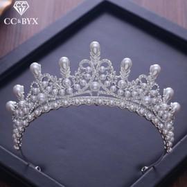 Diadème mariage argenté avec perles nacrés