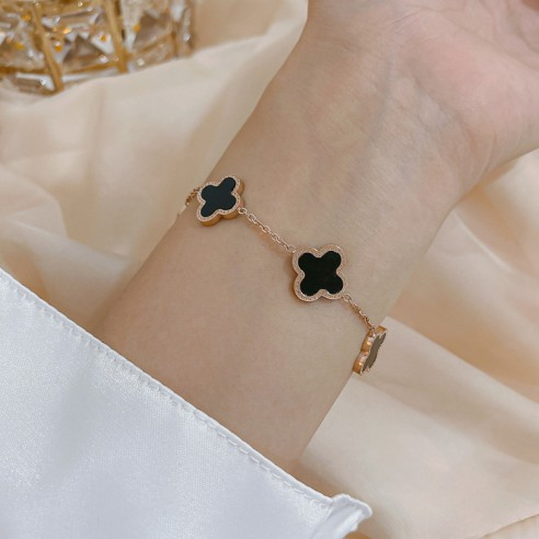 Bracelet 4 trèfle noir et doré