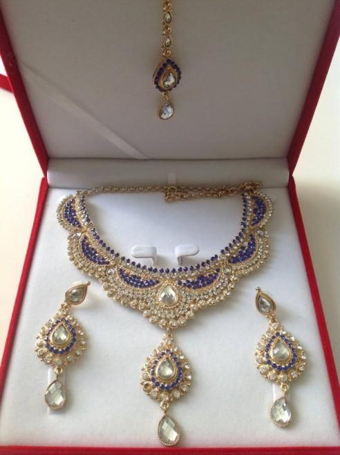 Parure indienne plaqué or pierres cristal bleu nuit mariage