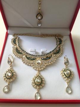 Parure indienne plaqué or pierres cristal vert bouteille mariage