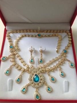 Parure plaqué or pierres cristal bleu mariage