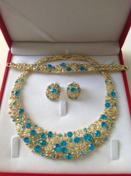 Parure plaqué or pierres cristal turquoisemariage