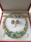 Parure plaqué or pierres cristal turquoise mariage