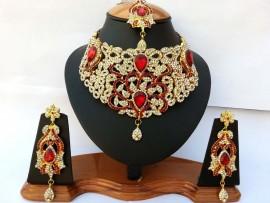 Parure indienne plaqué or pierres cristal rouge mariage