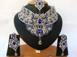 Parure indienne plaqué argent pierres cristal bleu mariage