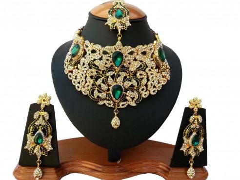 Parure indienne plaqué or pierres cristal vert emeraude mariage