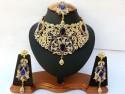Parure indienne plaqué or pierres cristal bleu marine mariage