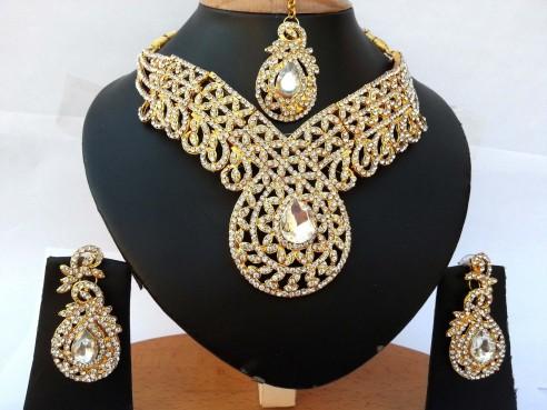 Parure indienne plaqué or pierres cristal mariage