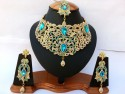 Parure indienne plaqué or pierres cristal bleu turquoise mariage