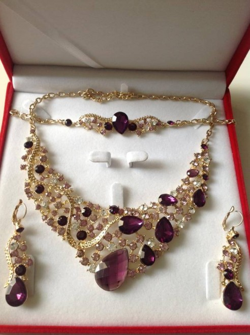 Parure plaqué or pierres violet prune mariage