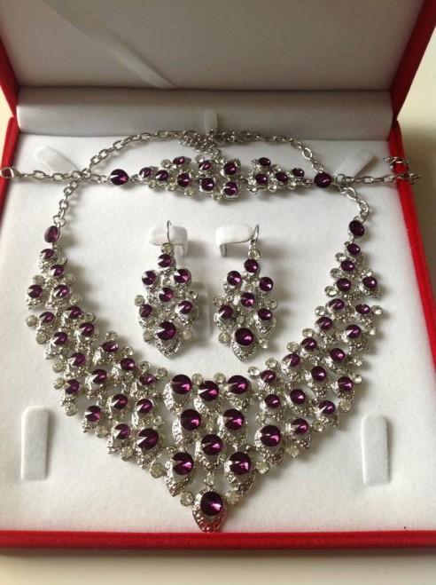 Parure plaqué argent pierre prune violet mariage