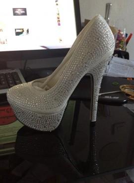 Chaussure argenté strass
