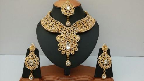 Parure indienne plaqué or pierres cristal mariage - Au Royaume du bijou 41e38166b81e
