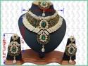Parure indienne plaqué or pierres cristal émeraude mariage