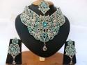 Parure indienne plaqué argent pierres cristal bleu ciel mariage