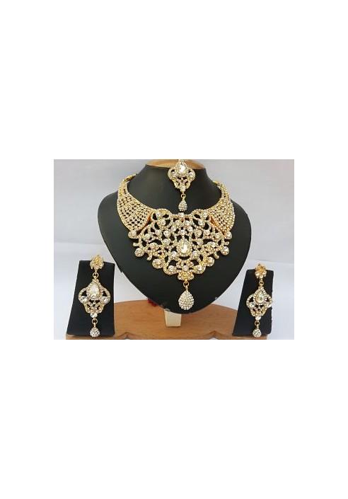 Parure indienne plaqué or strass cristal mariage