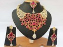 Parure indienne plaqué or strass cristal rose fushia mariage