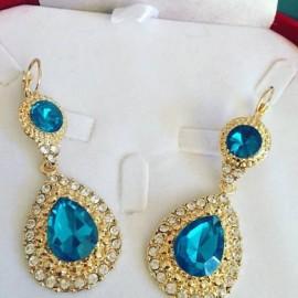 Boucles d'oreilles doré strass bleu turquoise mariage