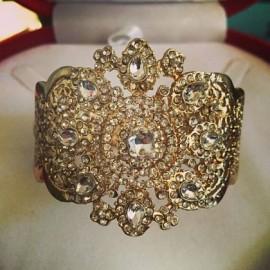 Bracelet plaqué or strass cristal mariage
