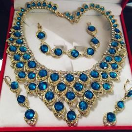 Parure doré strass bleu turquoise mariage