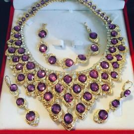 Parure doré strass violet cristal mariage