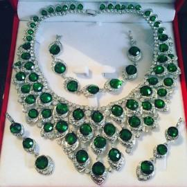 Parure argenté strass vert cristal mariage