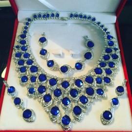 Parure argenté strass bleu cristal mariage