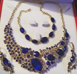 Parure doré strass bleu cristal mariage