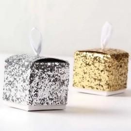 Boite de dragée glitter paillettes argenté ou doré