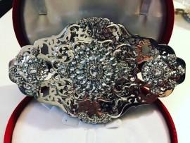 Broche pour ceinture en plaqué argent strass mariage