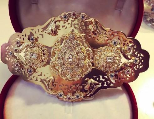 Broche pour ceinture en plaqué or strass mariage