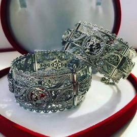 lot de 2 Bracelets en plaqué argent pièce Napoléon mariage