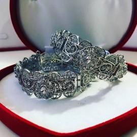Lot de 2 Bracelets en plaqué argent strass